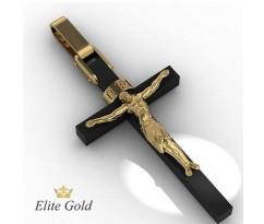 Крест с ониксом и распятием артикул: 5072