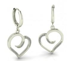 Серьги с подвесками в форме сердечек с камнями артикул:4983