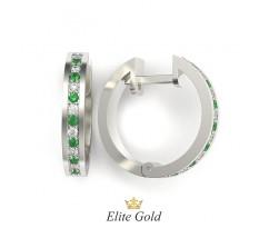 Серьги - кольца небольшие с камнями в виде дорожки артикул:6074