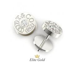 Круглые серьги в стиле бренда с камнями артикул: 6075