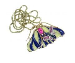 Кулон бабочка с цепью эмалью и камнями артикул 5288