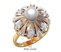 Кольцо в форме цветочка с камнями и жемчугом артикул 1079