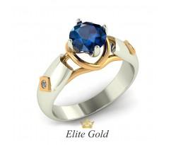 Геометрическое необычной кольцо с фигурными линиями и камнем артикул:5058