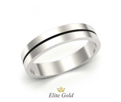 Мужское гладкое кольцо без камней с полоской эмали артикул 5279