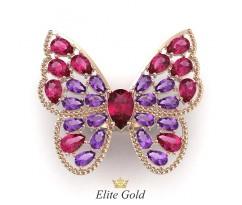 Коктейльное широкое кольцо бабочка с камнями артикул: 5480