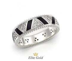 Авторское кольцо Saga с ажурными краями и эмалью артикул 5325