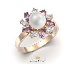 Кольцо в форме цветочка с жемчугом артикул:5328