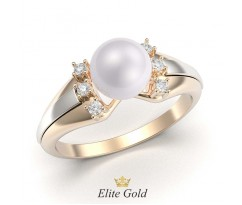 Женское кольцо с жемчугом и накладками артикул:5376