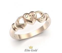 Кладдахское кольцо без камней с надписью на сердце артикул: 5393