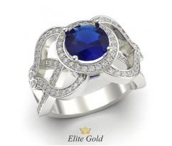 Кольцо с большим камнем и россыпью по бокам артикул:5864