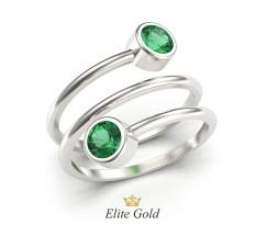 Женское кольцо в форме спирали с камнями вверху и внизу артикул:6109