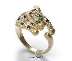 Кольцо в форме пантеры с камнями артикул: 6324