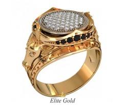 Мужское кольцо с быками и россыпью камней артикул:700360