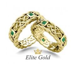 Винтажные обручальные кольца с узорами и камнями артикул:0120