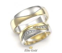 Сдвоенные обручальные кольца с камнями артикул 5304