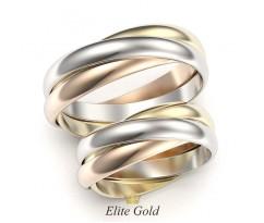 """Обручальные кольца в трех цветах золота """"Trinity"""" без камней артикул: 5327"""
