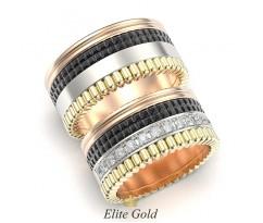 Массивные обручальные кольца с чернением и камнями артикул: 5332