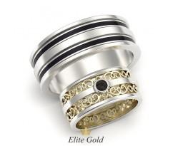 Обручальные кольца из разных стилей ажурное и с эмалью артикул 5341