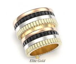 Массивные обручальные кольца с чернением без камней артикул: 5348