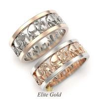 Обручальные кольца со слонами артикул:5371