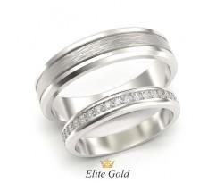 Обручальные кольца с матированием и камнями артикул:5464