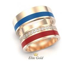 Обручальные кольца с эмалью и камнями артикул:5478