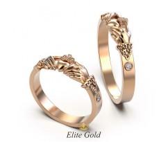 Небольшие обручальные кольца ирландские с камнями артикул:5778