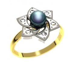 Кольцо с жемчугом, ручная работа артикул: 1177