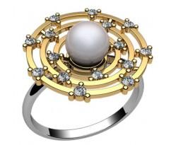 Кольцо с жемчугом, ручная работа артикул: 1235