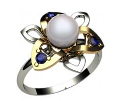 Кольцо с жемчугом, ручная работа артикул: 1237