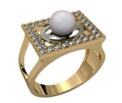 Кольцо с жемчугом, ручная работа артикул: 1240