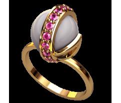 Кольцо с жемчугом, ручная работа артикул: 2499