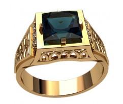Кольцо для мужчин с центральным камнем квадрат артикул: 3120