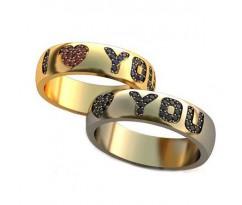 Уникальные парные обручальные кольца арт: AU102