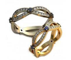 Уникальные парные обручальные кольца арт: AU112