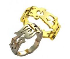 Уникальные парные обручальные кольца арт: AU124