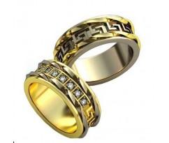 Уникальные парные обручальные кольца арт: AU142