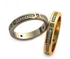Уникальные парные обручальные кольца арт: AU80
