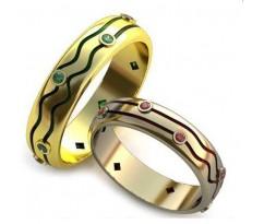 Уникальные парные обручальные кольца арт: AU87