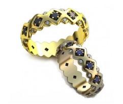 Уникальные парные обручальные кольца арт: AU89