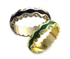 Уникальные парные обручальные кольца арт: AU90