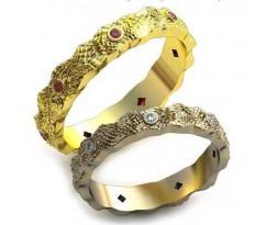 Уникальные парные обручальные кольца арт: AU96