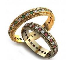 Уникальные парные обручальные кольца арт: AU98