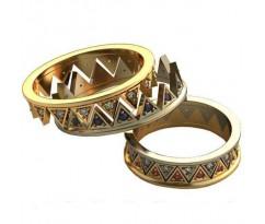 Уникальные парные обручальные кольца арт: AU423