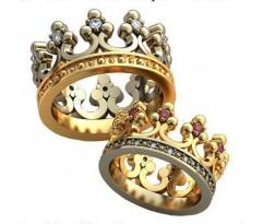 Уникальные парные обручальные кольца арт: AU427 Короны