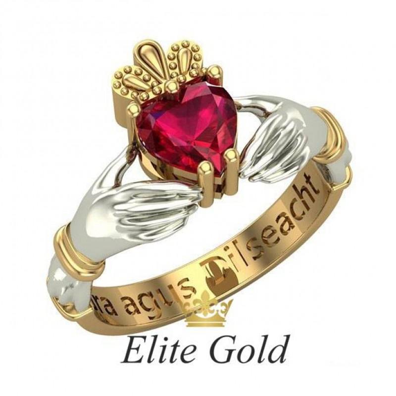 95db1e785129 ➨EliteGold™ Кладдахское кольцо Red Heart купить в Украине по цене ...