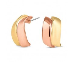 Two Tone Curved Stud Earrings