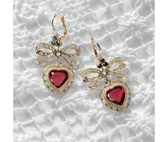 Dolce Gabbana Gold Heart Ribbon Earrings