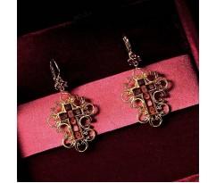Dolce Gabbana Gold Red Cross Earrings