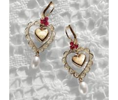 Dolce Gabbana Gold Heart Ruby Earrings